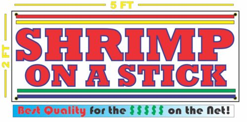 SHRIMP ON A STICK BANNER Sign NEW Larger Size for Fair Carnival Stand Cart