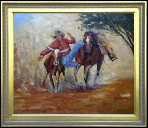 Framed-Quality-Hand-Painted-Oil-Painting-Cowboy-at-Work-20x24in