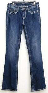 VIGOSS-Femmes-Dublin-Bootcut-Heritage-Fit-Bleu-Jean-Jeans-Extensible-S5-6-L33