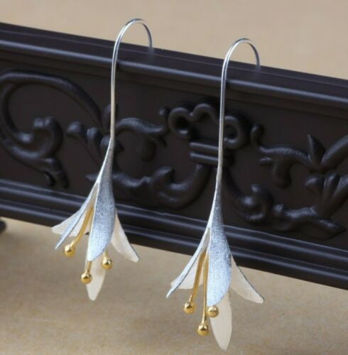 Two Tone Four Leaf Earrings sterling silver blossom flower floral drop gift S6