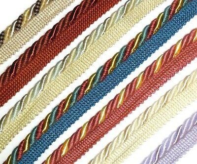 FREE P/&P FLANGED BINDING//PIPING 9MM CORD X2 METRES ART 10.190//9 CHOOSE COLOUR