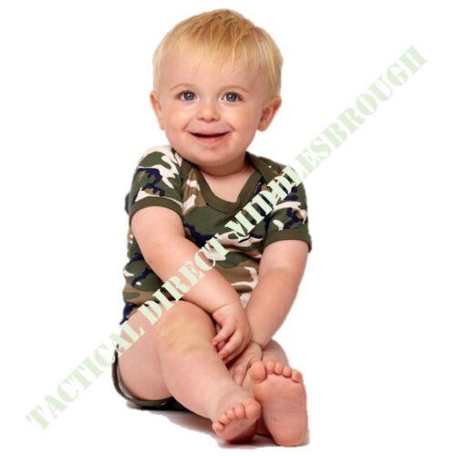 Bebé Ejército Camiseta 0-24 Mes Camuflaje Caqui Pelele Body Pijama Babero
