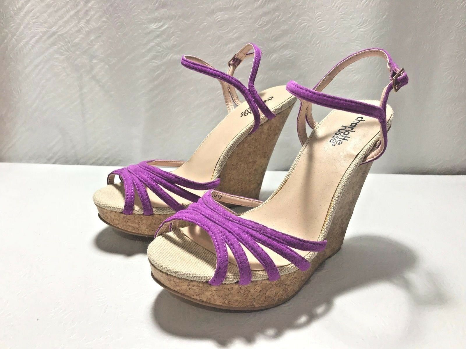 NEW Strappy CHARLOTTE RUSSE Hot Purple Strappy NEW Platform Wedge Sz. 7M 1f20d3