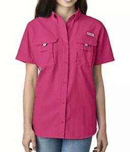 BNWOT COLUMBIA women's fuschia button down collared s/s shirt w/ Omni Shield szL