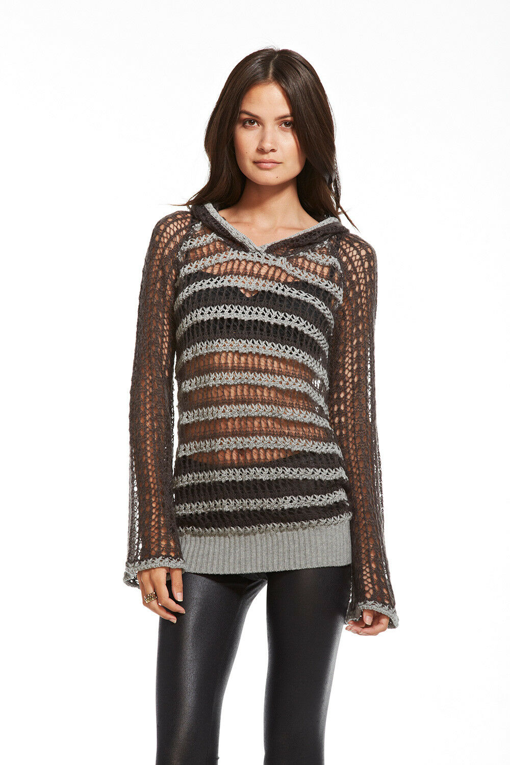 CHASER Sweater S Striped Sheer Open Knit Slouchy Bell Sleeve Hoodie Tunic NWT