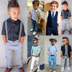 0be141ae2 Details about Summer Baby Boy Kids Shirt Coat Pants Outfit Toddler Clothes  Gentleman Set 18M-8