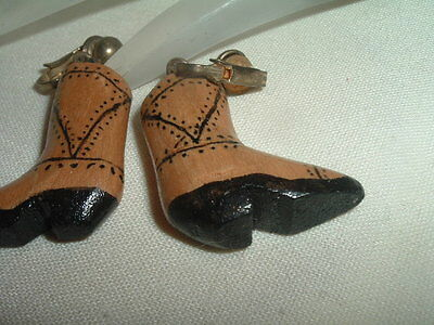5272a92e9bf VINTAGE SOUTHWEST HAND PAINTED CARVED WOOD COWBOY BOOT EARRINGS IN ...