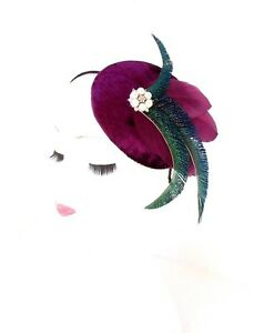Plum Purple Green Ivory Statement Feather Fascinator Hair Band 1940s Races 2418
