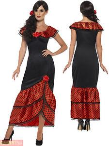 7061bc280fde Details about Ladies Flamenco Senorita Costume Adults Spanish Dancer Fancy  Dress Womens Outfit