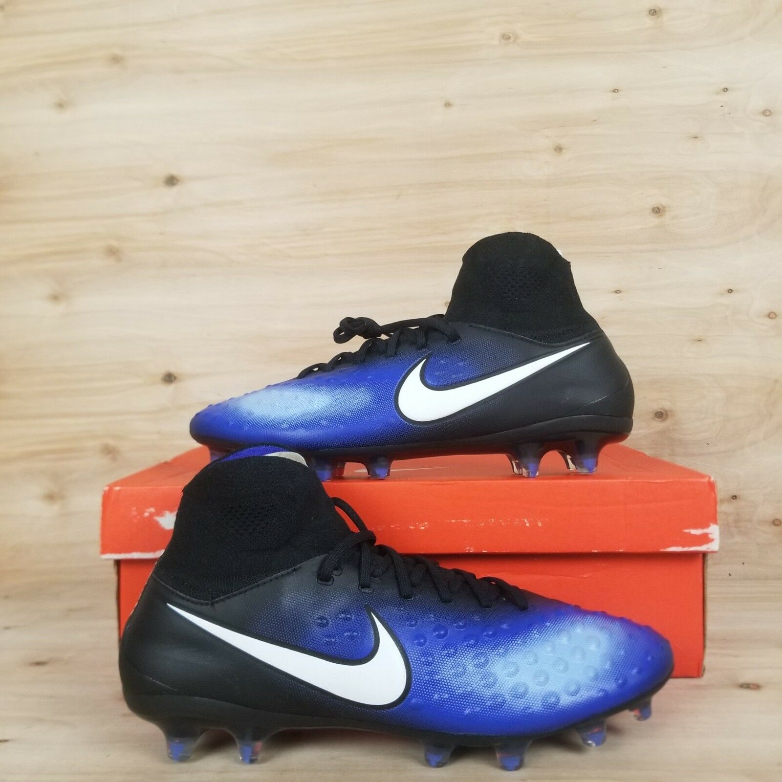 NIKE MAGISTA ORDEN II FG BLACK WHITE PARAMOUNT blueE [843812-018] MEN'S SZ.10