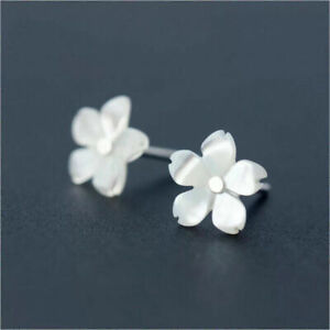 925-Sterling-Silver-Post-Genuine-White-Mother-of-Pearl-Flower-Stud-Earrings-Gift