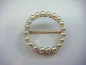 !VINTAGE 14K YELLOW GOLD CIRCLE BROOCH WITH PEARLS, 28.7 MM OR 1.1 INCH DIAMETER