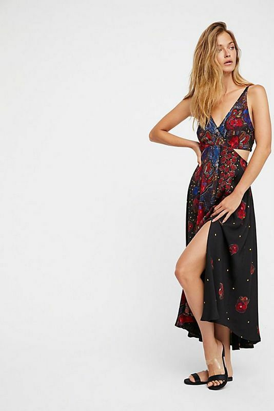 FREE PEOPLE NWT Größe Medium Feelin' Good Midi Vaca dress schwarz Combo NEW