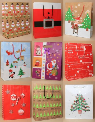 PACK OF 2 LARGE CHRISTMAS XMAS BROWN RED GIFT BAGS