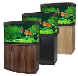 Fluval Vicenza 180 LED Aquarium & Cabinet Set - Bowfront Oak/Walnut/Black Tank