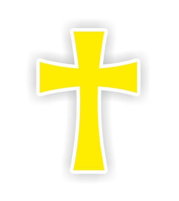 christian symbol cross yellow catholic protestant vinyl