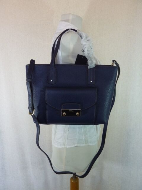 Nwt Furla Navy Pebbled Leather Small Julia Tote Bag 368 Made In Italy