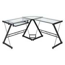 New Listingonespace 50 Jn110500 Glass L Shaped Desk 51 X 51 X 29 Blackclear Glass