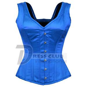 Over-bust-Full-Steel-Boned-Spiral-Strap-Halter-Bustier-Gothic-Blue-Satin-Corset