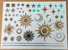 Prize sun moon star waterproof metallic golden temporary tattoo flash