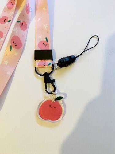 Kawaii Peach Pink Fruit Funky Cute Lanyard ID Mobile Neck Charm Christmas Gift