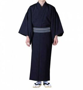 Traditional Japanese Mens Kimono Washable Navy Xl Polyester Japan