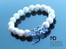 Men White Howlite Double Skull Bracelet with Swarovski Crystal 7'' Elasticated