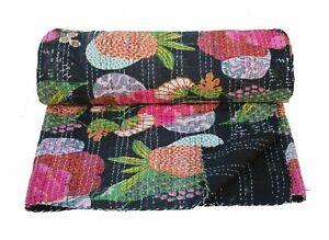 Home-Decor-Cotton-Kantha-Quilt-Vintage-Wall-Hanging-Bedspread-Bed-Cover-Black