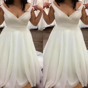 Plus Size Simple Wedding Dresses Off Shoulder Lace-up Country Garden ...