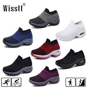 Womens-Air-Cushion-Walking-Running-Sports-Comfy-Sock-Sneakers-Mesh-Jogging-Shoes