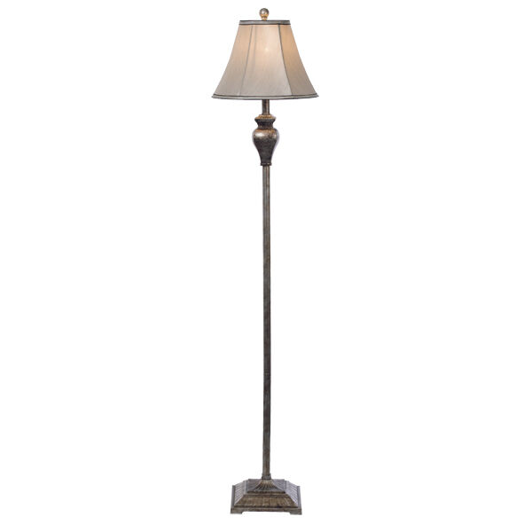 Devon 1 Light Floor Lamp in Antique Silver