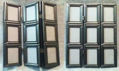 """Nine in One 2 x 3"""" Photo Hinge Fold Table Glass Pewter Metal Pic Frame 11"""" x 9"""""""