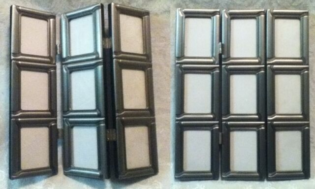 "Nine in One 2 x 3"" Photo Hinge Fold Table Glass Pewter Metal Pic Frame 11"" x 9"""