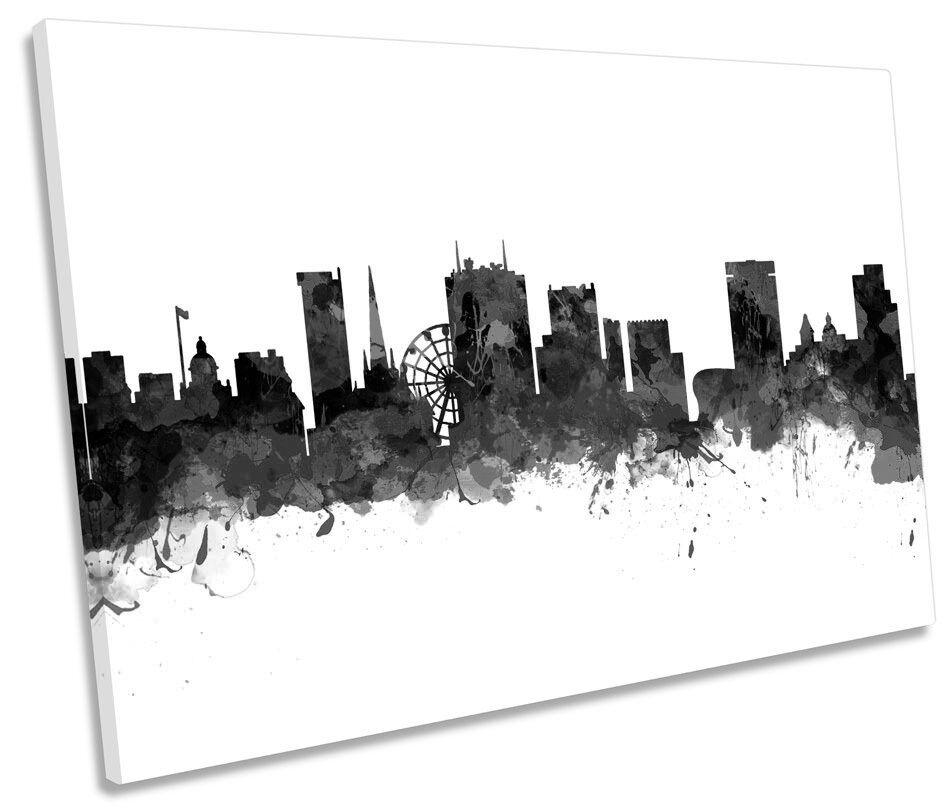 Birmingham City Skyline moderno B&W TELA SINGOLA Wall Art Box incorniciato