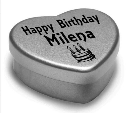 Joyeux anniversaire Milena mini coeur tin cadeau pour Milena avec chocolats