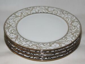 Ciroa-Veluto-Gold-Swirls-Metallic-Accent-Porcelain-Dinner-Plates-Set-of-Four-New