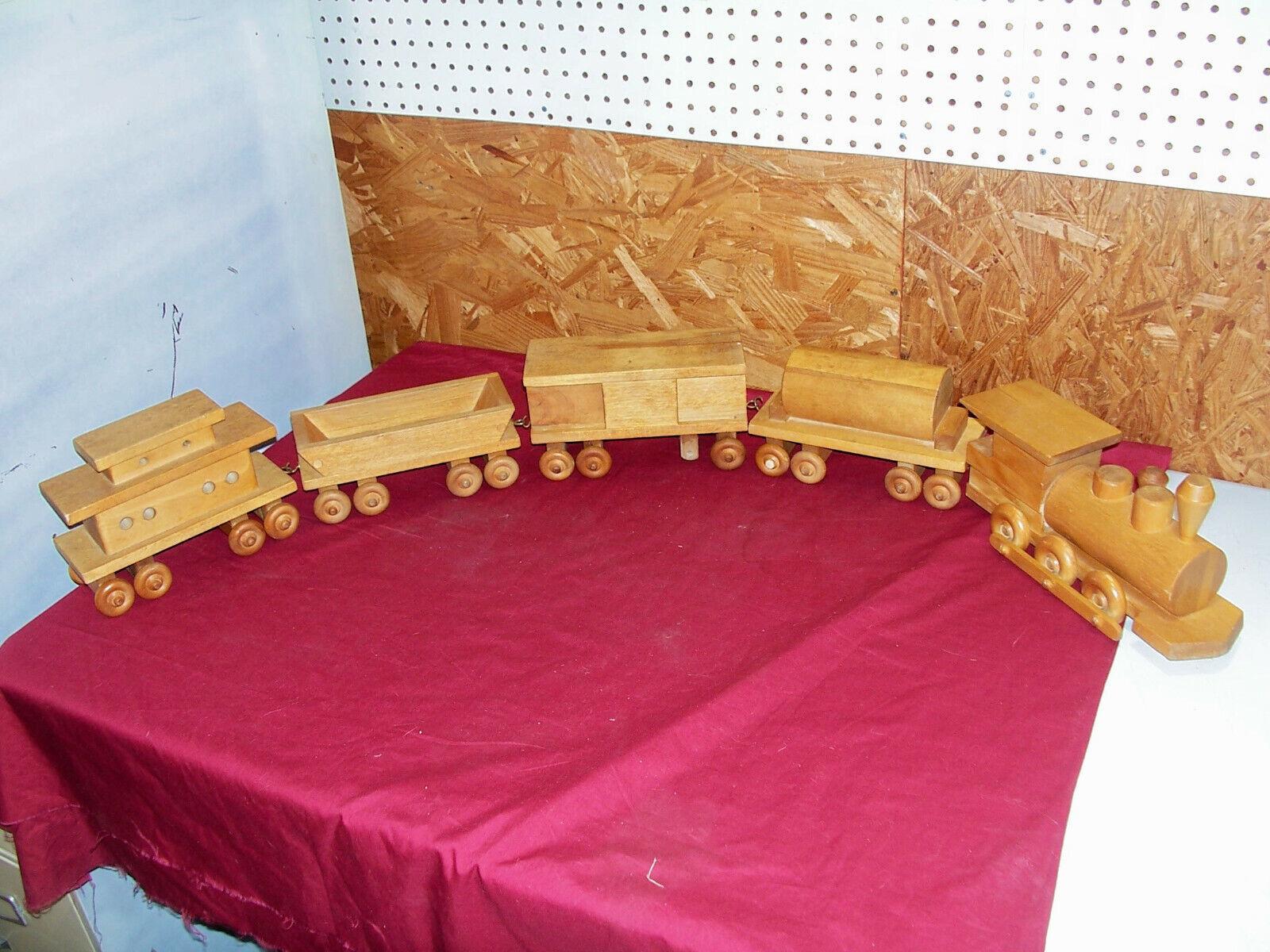 """Old Large Wooden Juguete Train Set Vintage Big Wood Model Shelf DisJugar Railroad 12"""""""