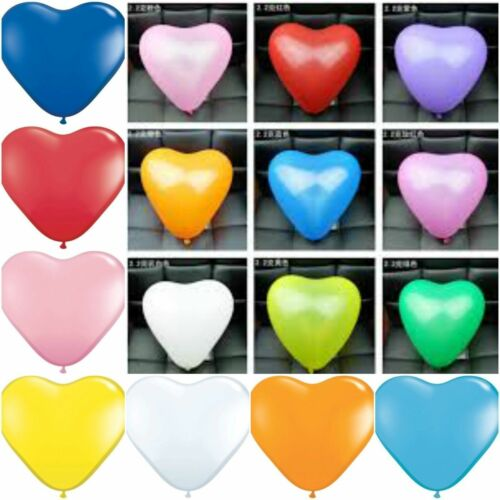 """10/"""" Inch Heart Shaped Balloons Latex 10-50 Party Valentine for Helium or Air"""