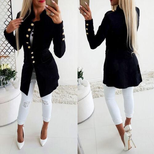 Women Long Jacket Overcoat Outwear Slim Fit Double Breasted Blazer Suit Coat Top