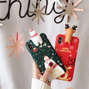 Xmas-Snowman-Elk-3D-Soft-Phone-Case-Cover-For-iPhone-6-6s-7-8-X-Plus-Christmas