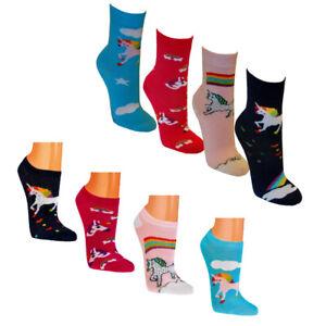 4 - 12 Paar Einhorn Sneaker Socken Mädchen Damen Strümpfe Kinder Pferd Unicorn