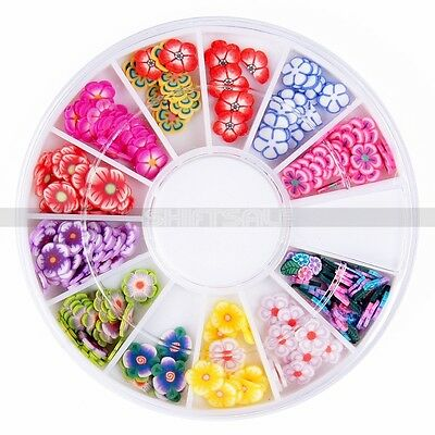 Durable 12 Styles Glitter Nail Art Polymer Clay Fimo Flower Tips Stickers Decor