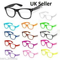 Neon Geek Glasses Festival Fun Party wear 80's Coloured Fancy Dress Costume UK
