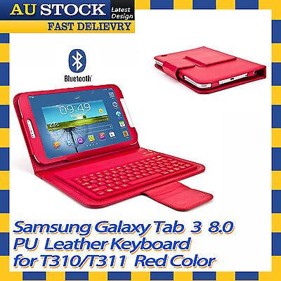 Samsung GALAXY Tab 3 8.0 T310 T311 Bluetooth Wireless Keyboard Case Cover Red