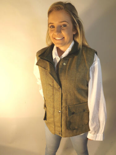 Woven New 12 14 16 18 8 10 Tweed English Waistcoat Ladies Green EHqSwH
