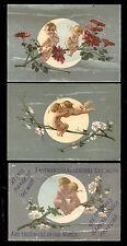 1880's MOON LOVE 3 EASTMAN'S DAPHNE ODORA PERFUME TRADE CARDS, FREE SHIP, TTC130