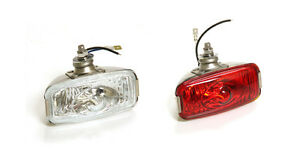 CLASSIC-CAR-RETRO-REAR-STAINLESS-FOG-amp-REVERSE-LAMP-FORD-MINI-GLASS-PAIR-Y3277-8