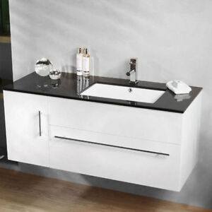 Image Is Loading Wall Hung Vanity Cabinet Black Top Sink Basin