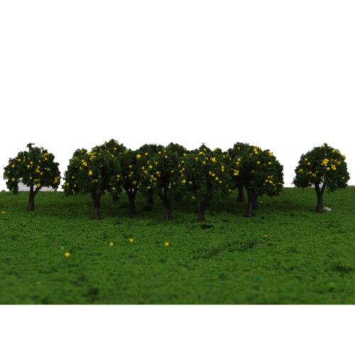 40pcs Modellbahn Gelbe Obstbäume Garten Straße Layout Maßstab 1//300 4cm