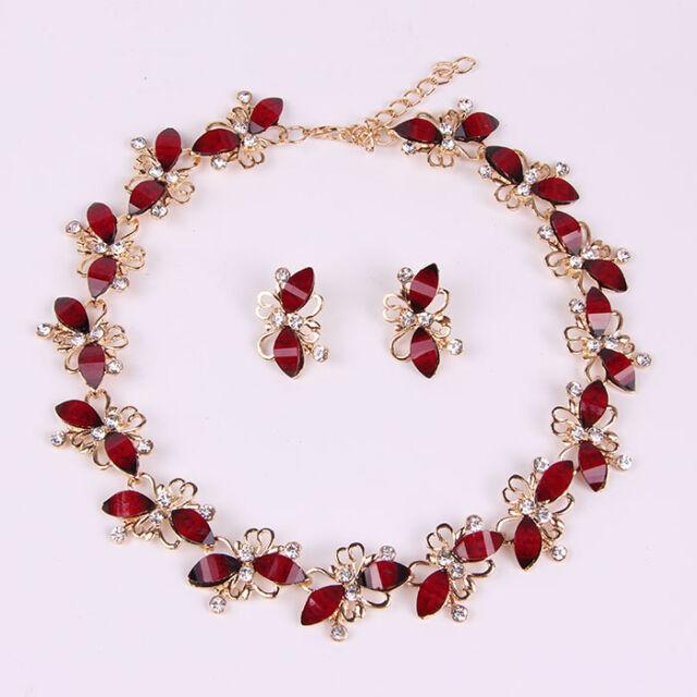 Resin Necklace Earring Set Wedding Swarovski Element Crystal Jewelry Sets